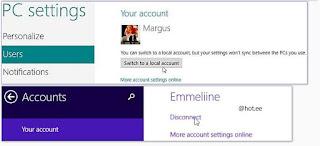 Windows 8, paramètres PC, Utilisateurs. Pour passer votre compte Microsoft au compte local, cliquez sur «Passer à un compte local».