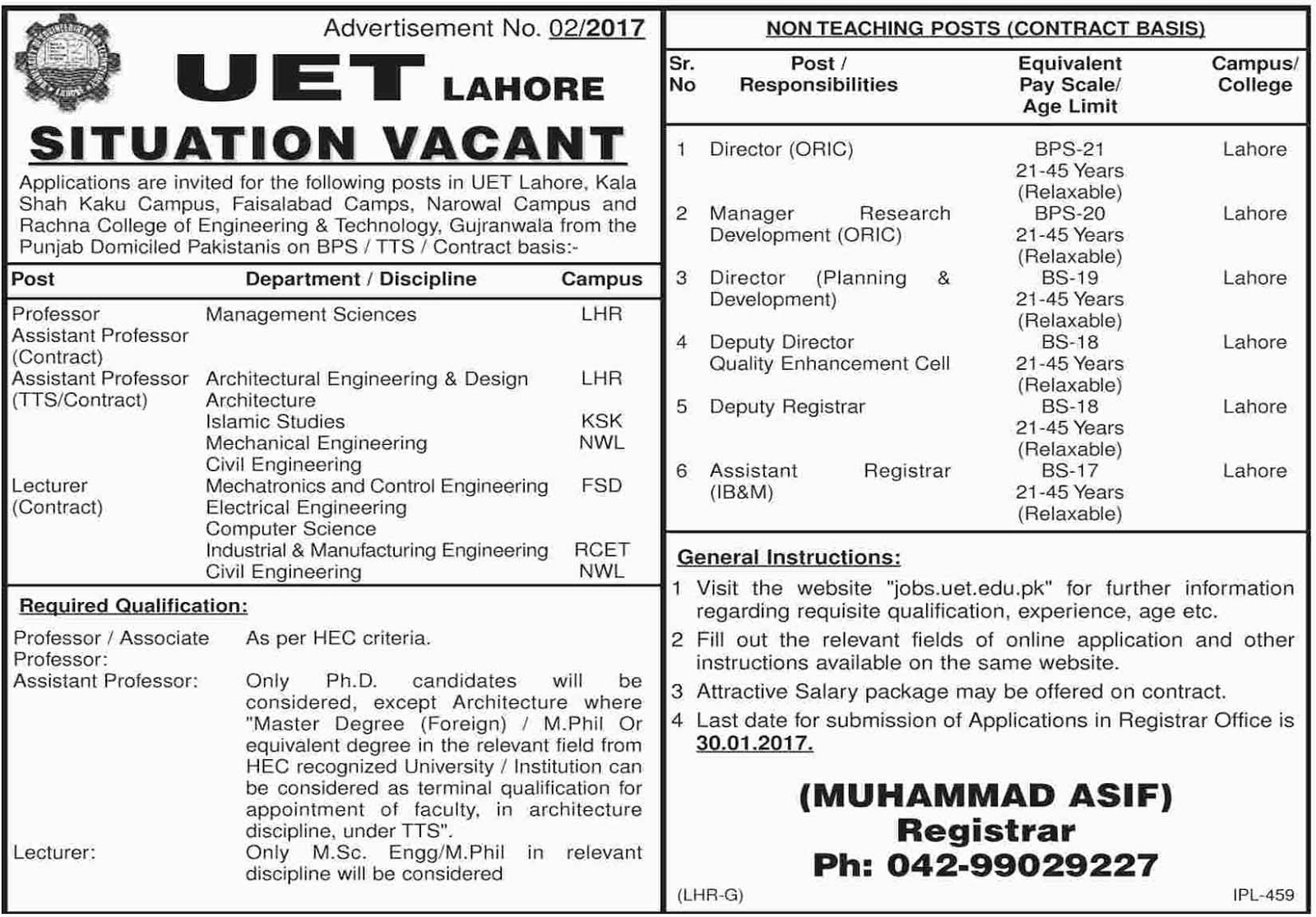 lahore University Of Engineering And Technology Jobs