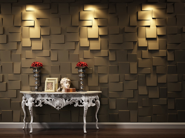 Modern Wall Paneling Designs decorative 3d wall panels adding dimension to empty walls and modern interiors Modern Wall Panels In Metallic Tone For Homes And Commercial Places 3d Wall Designs
