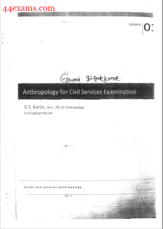 Social and Cultural Anthropology By G.S. Kartic : For Civil Services Examination PDF Book