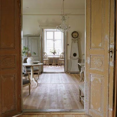 Enchanting Swedish style interior design in country home with weathered finishes - found on Hello Lovely Studio