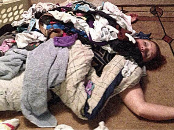 dead woman buried under dirty laundry