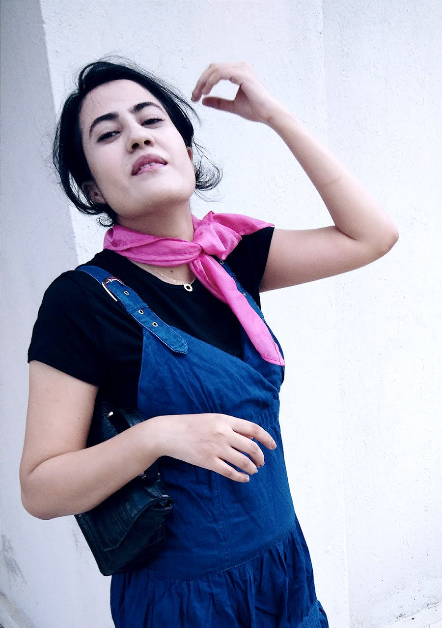 black Zara Top, denim Dress,mini Bag,pink Scarf Diy