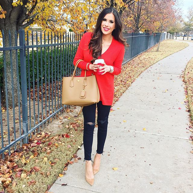 manolo blahnik suede tan pumps, tan cuir prada handbag, red trouve sweater, nordstrom trouve sweater, emily gemma