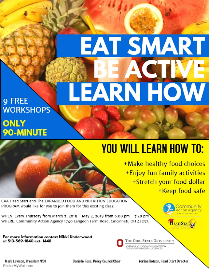 Eat Smart, Be Active, Learn How - Free Workshops Being Offered