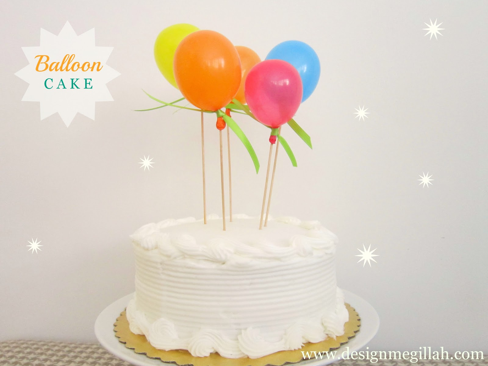 How To Decorate A Small Birthday Cake With Balloons