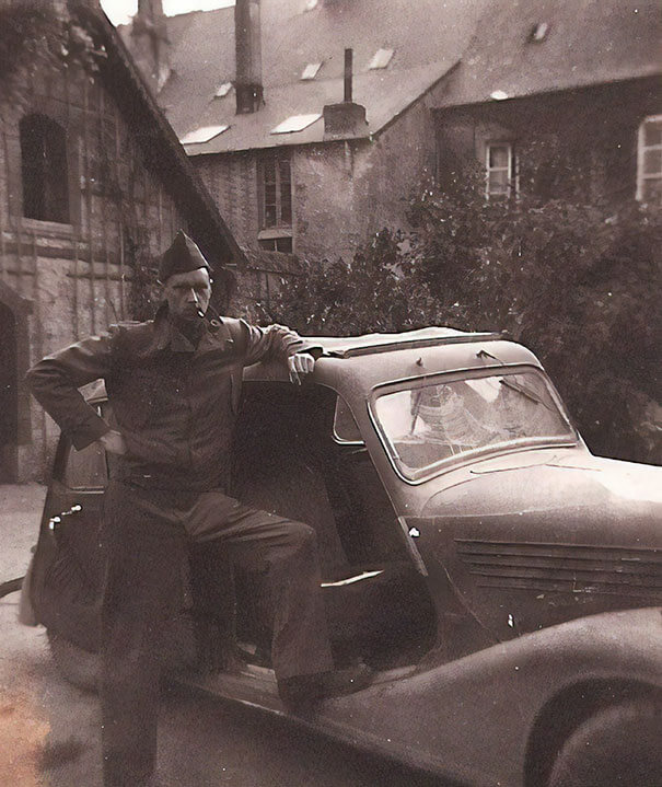 25 Fascinating Pictures Show How Cool Our Grandparents Used To Be - WW2 - My Badass Grandpa With A Car He Stole From Nazis