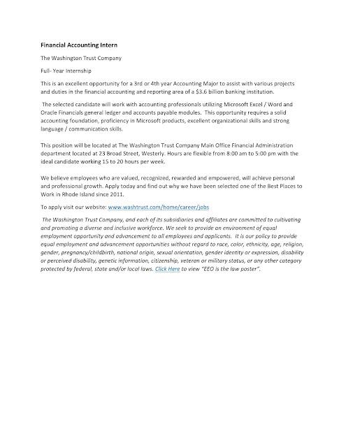 URI CBA Internship/Job Information Washington Trust Company