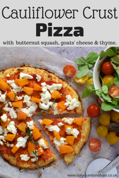 Cauliflower crust pizza is a low carb recipe, also referred to as a keto diet.  They're easy to make and very satisfying.  As with all pizzas, they can be topped with your own preference, we chose butternut squash, goats' cheese & thyme.