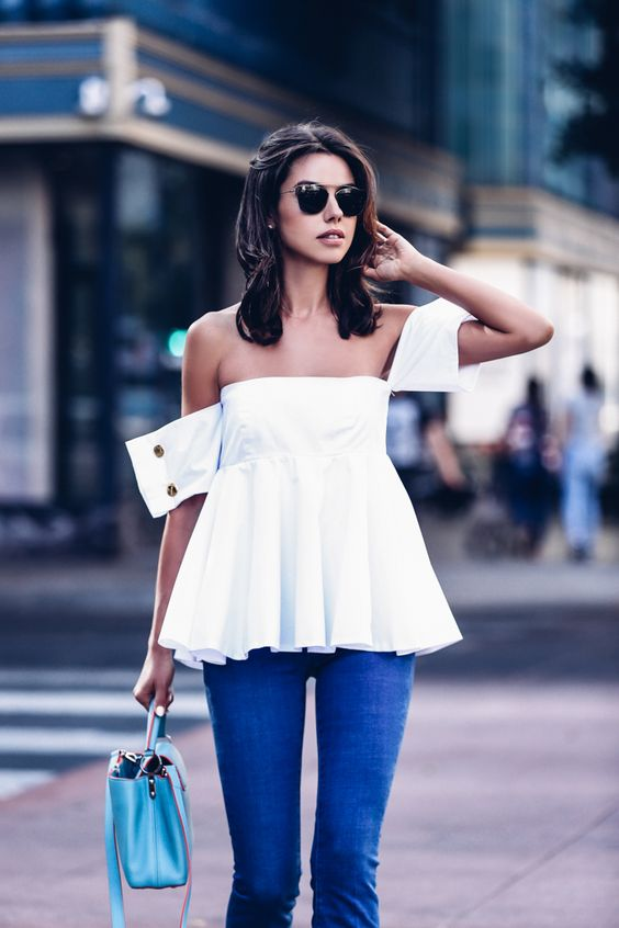 Viva Luxury - Off Shoulder Flare Top + Louis Vuitton Blue Capucines Bag