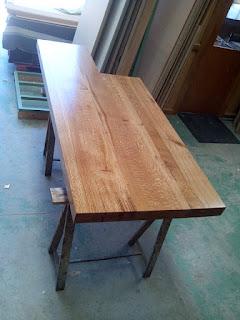 Mesa de trabajo para cocina en roble por Carpintero Zaragoza