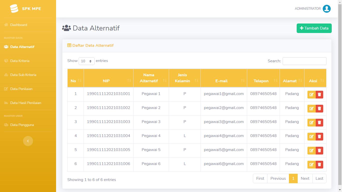 Aplikasi Sistem Pendukung Keputusan Penentuan Pegawai Terbaik Metode Perbandingan Eksponensial (MPE) - SourceCodeKu.com