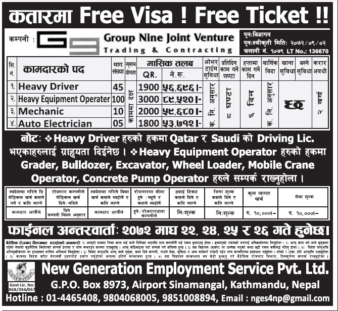 FREE VISA FREE TICKET JOBS IN QATAR FOR NEPALI, SALARY RS 89,520