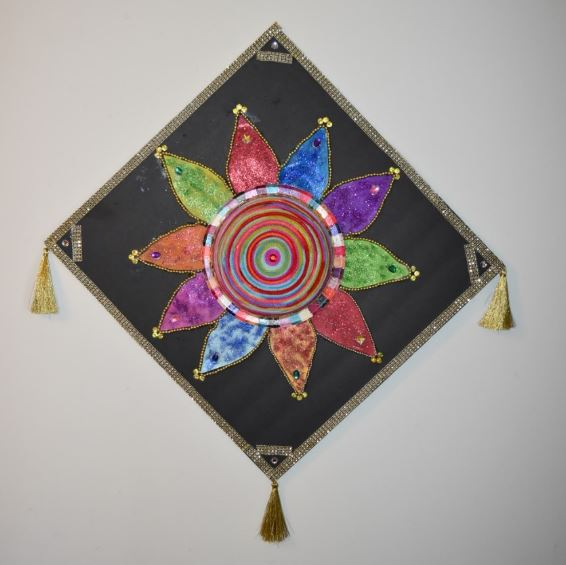 This is one colorful art made from paper plate and multicolored yarn. I stuck the yarn on an upside down paper plate with glue. & YARN WALL HANGING CRAFT | My Crafty Creations
