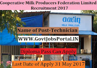 Tamil nadu Cooperative Milk Producers Federation Limited Recruitment 2017– Technician