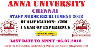 Anna University Staff Nurse Recruitment Chennai 2018