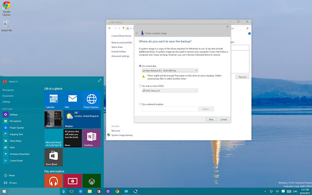system image backsup windows 10
