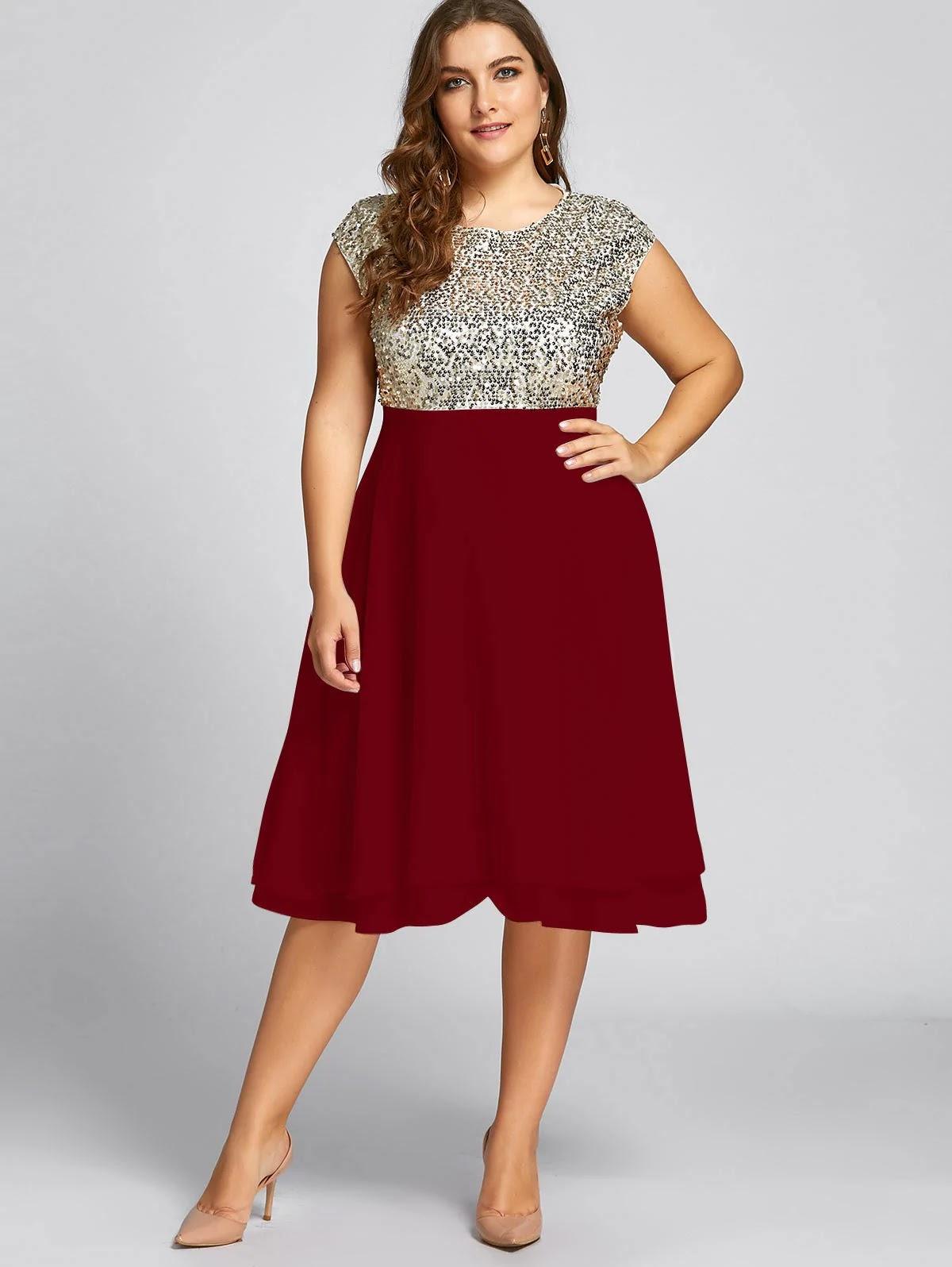Plus Size Sequin Sparkly Cocktail Dress