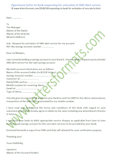 Letter to Bank requesting for activation of SMS Alert service (sample)