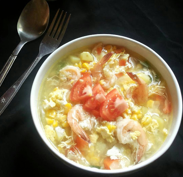 soup jagung, jagung udang