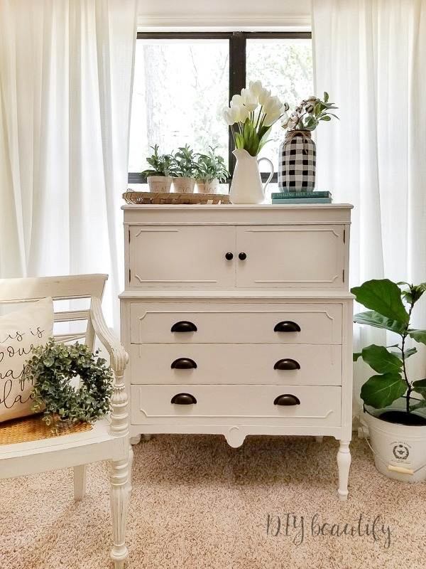 cottage dresser with antique cup pulls'