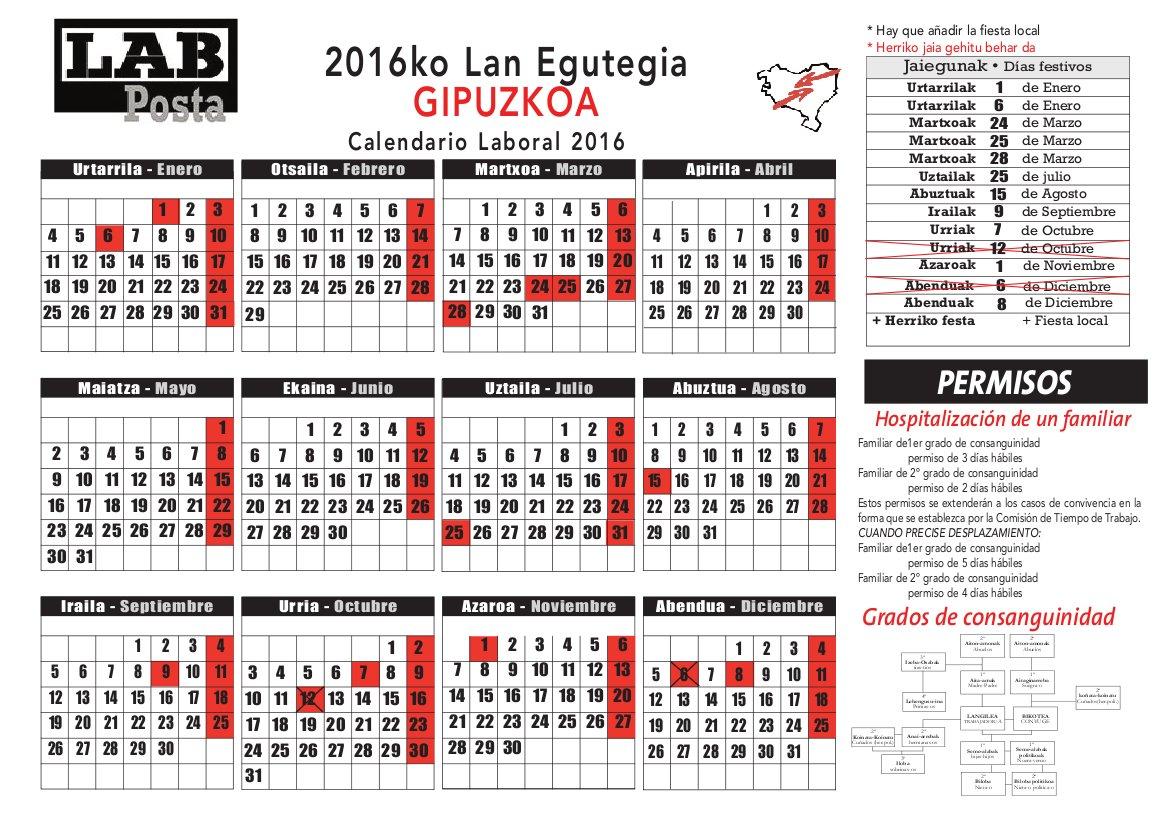 Calendario Laboral Gipuzkoa 2019.Lab Posta 2016ko Lan Egutegia Gipuzkoa Calendario Laboral 2016 Gipuzkoa