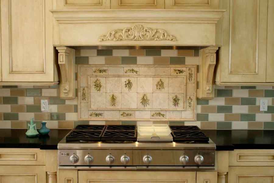 French Country Kitchen Backsplash Tiles With Chalk Painted White Cabinets Best Black Granite Countertops And