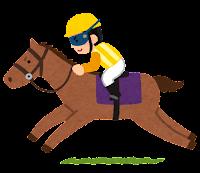 馬に乗るジョッキーのイラスト(黄)