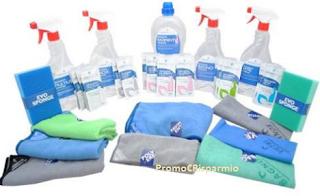 Logo Eurodex Cleaning: kit offerta per la pulizia della casa.