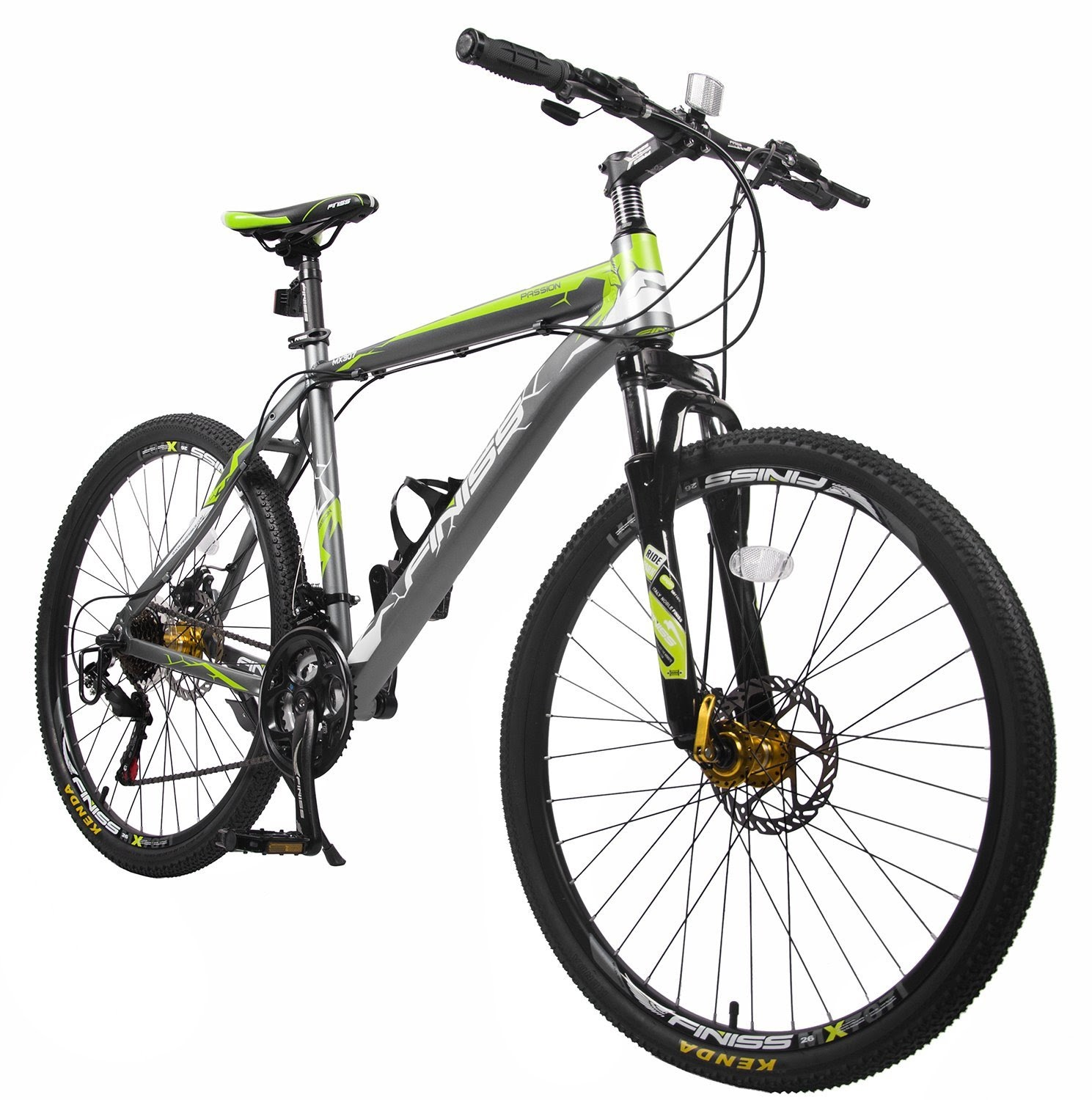 7b87ace8a90 Merax Finiss Mountain Bike, Aluminum, 21 Speeds, Disc Brakes, Fashion  Gray/Green. >>