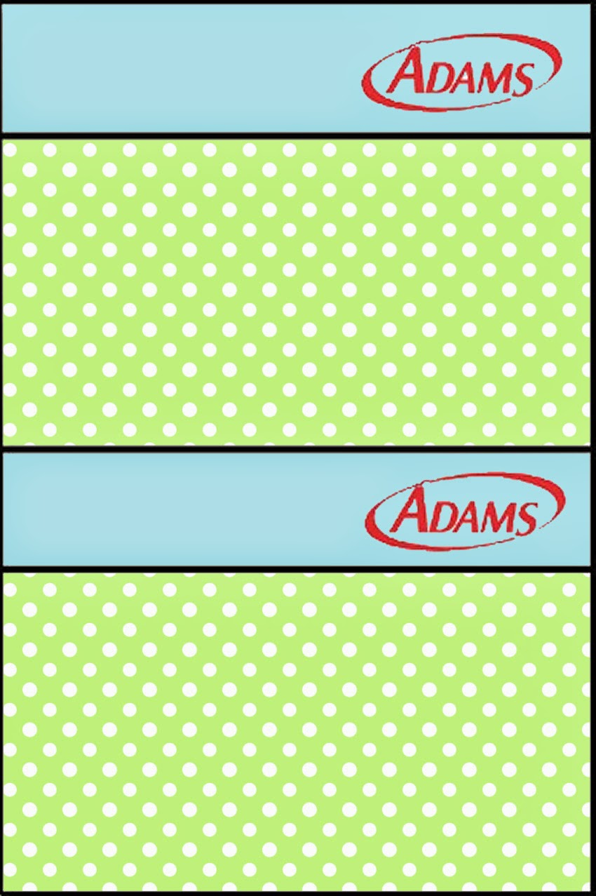 Etiquetas de Chicle Adams de Verde y Celeste para imprimir gratis.