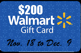 Enter to win a $200 Walmart Gift Card. Giveaway ends 12/9.