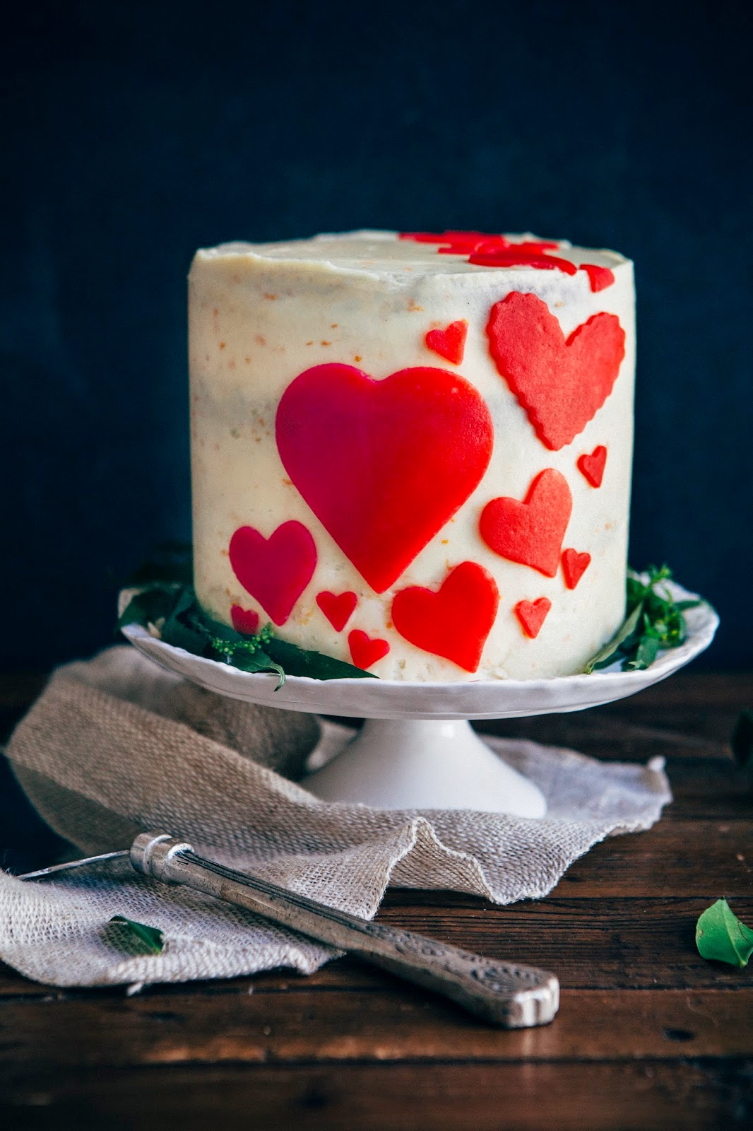 Valentine S Day Red Velvet Cake With Marzipan And Ermine