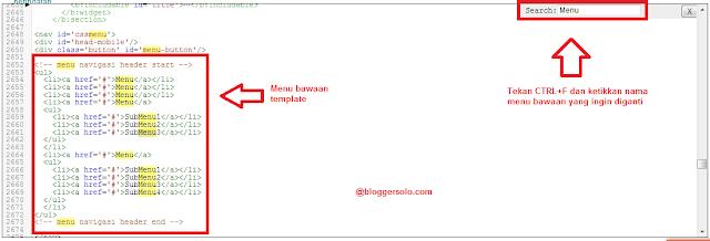 cara mengedit menu bawaan template