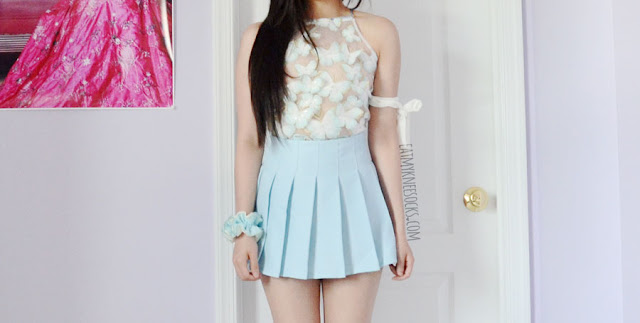Details on the butterfly embroidered sequined sheer mesh organza halter crop top from Zaful.