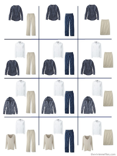 a dozen outfits taken from 9 wardrobe Neutral Building Blocks