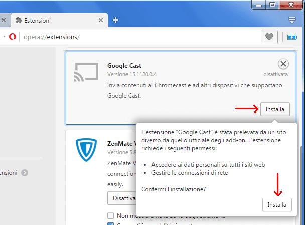 Opera installare estensione Chrome scaricata