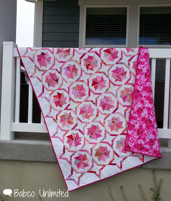BabcoUnlimited.blogpsot.com - Wheel of Fortune Quilt, Pink & White Quilt