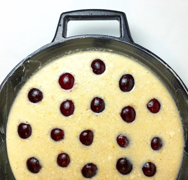 Overhead of Unbaked Clafoutis in Cast Iron Pan