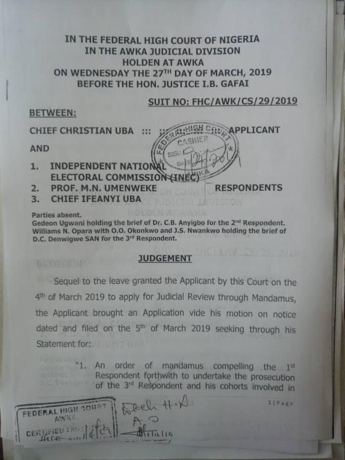 Anambra South Election: Federal High Court vindicates Prof. Umenweke  By Izunna Okafor