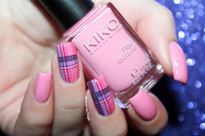 Pink Tartan Nail Art