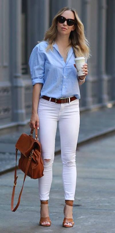 casual style addiction: shirt + bag + skinnies
