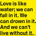 Love is like water; we can fall in it, we can drown in it, and we can't live without it.
