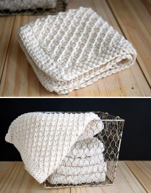 Daisy Stitch Knit Washcloth - Free Pattern