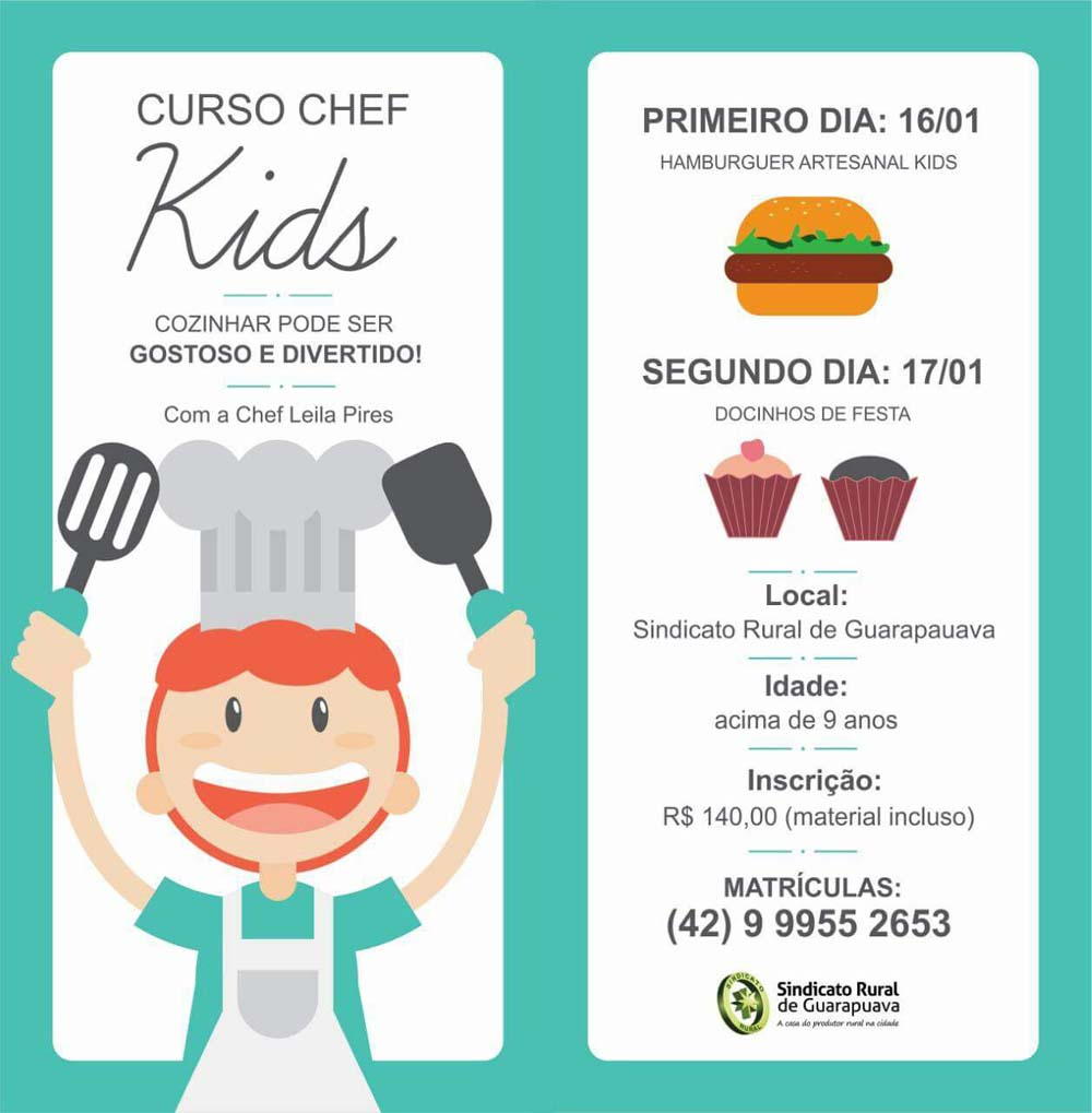 Luzita levy social abertas inscri es para curso chef kids for Material para chef