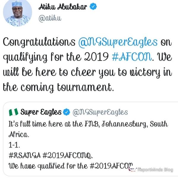 Atiku Congratulates Super Eagles For Qualifying For AFCON 2019