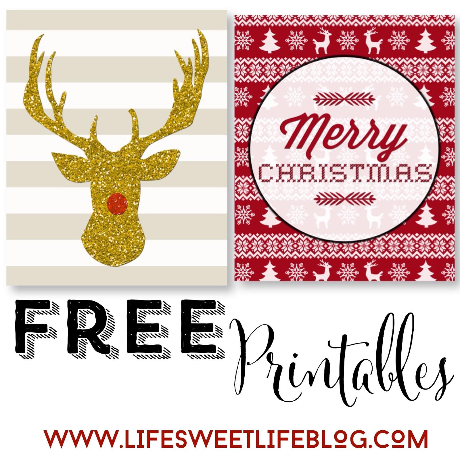 Life Sweet Life Free Christmas Printables Deer Head Amp Fair Isle