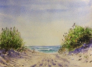 Water colour painting of a seashore by Manju Panchal