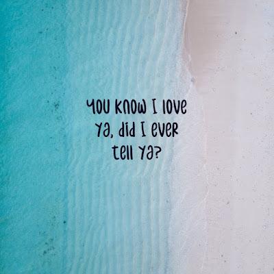 You know I love ya, did I ever tell ya?