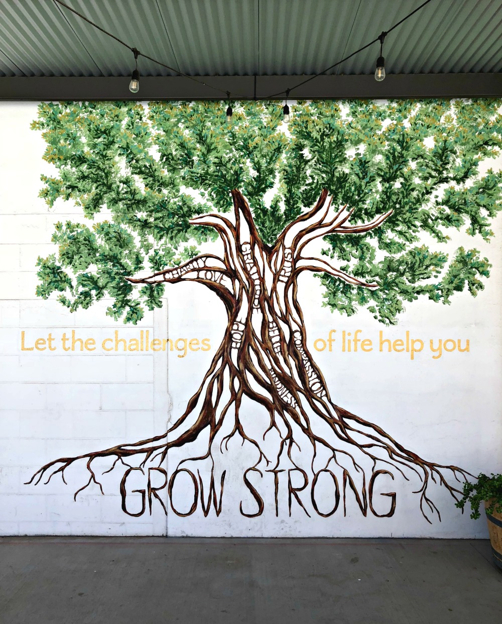 grow strong tree mural in waco, texas
